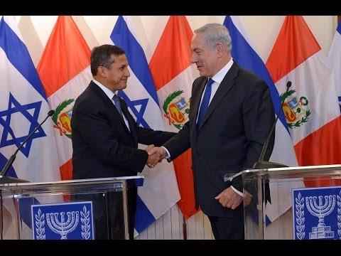 Peru Devlet BAşkanı Tasso ve İsrail Başbakanı Netanyahu